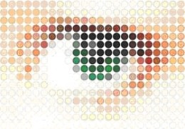 Mosaic image effect in Illustrator.